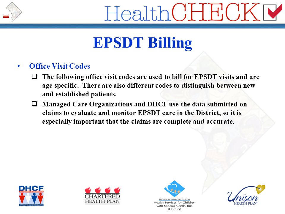 EPSDT Billing Office Visit Codes