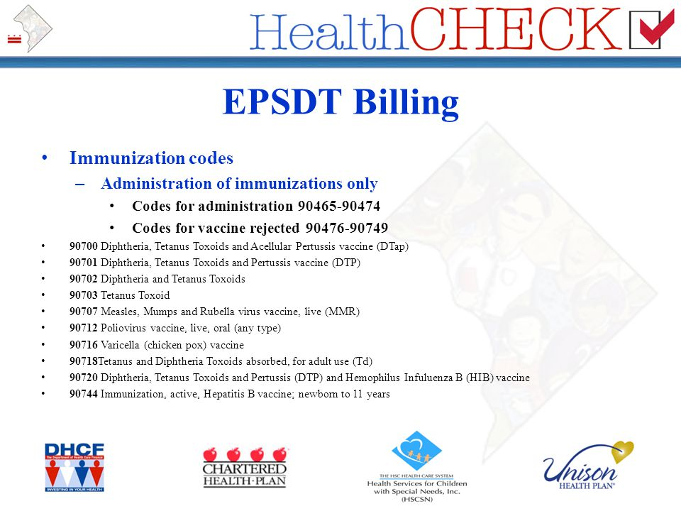 EPSDT Billing Immunization codes Administration of immunizations only
