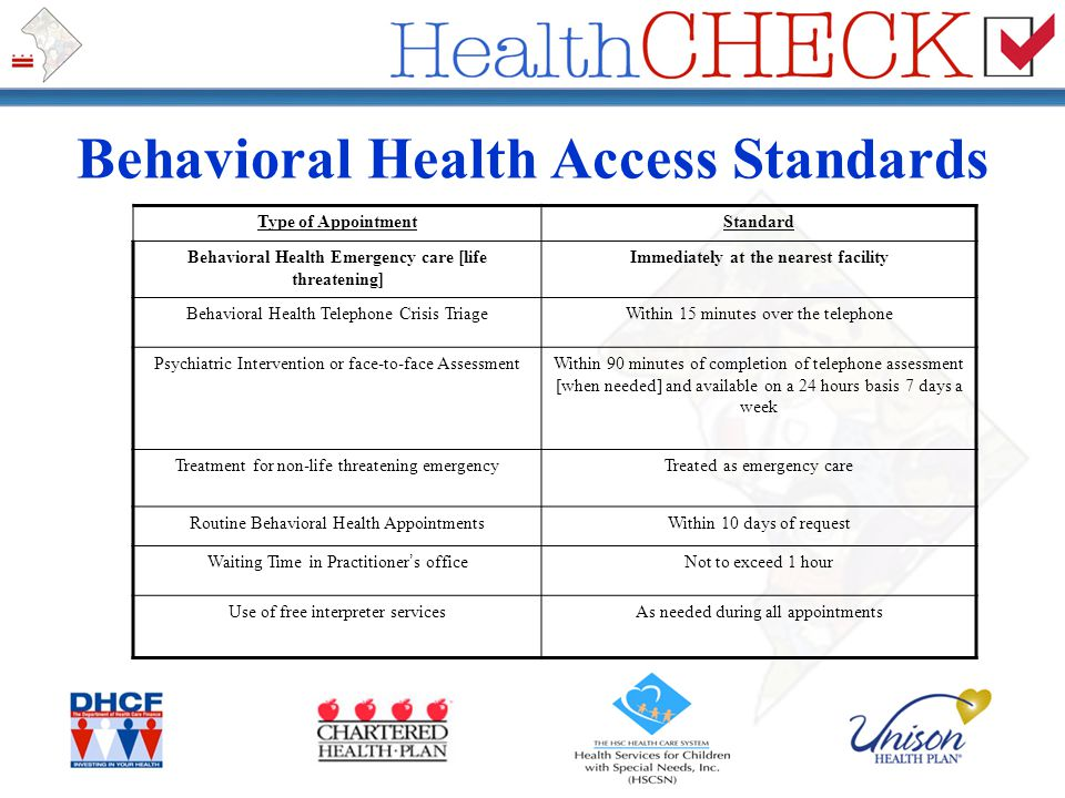 Behavioral Health Access Standards