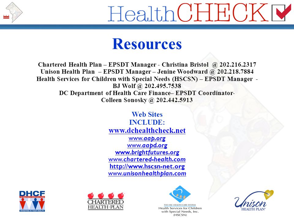 Resources www.dchealthcheck.net Web Sites INCLUDE:
