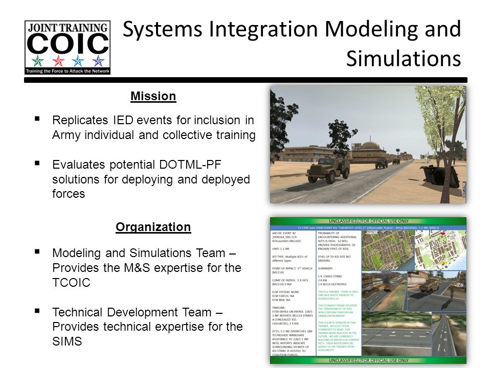 Systems Integration Modeling and Simulations