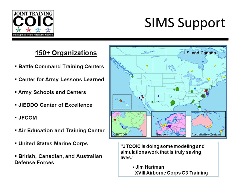 SIMS Support 150+ Organizations Battle Command Training Centers