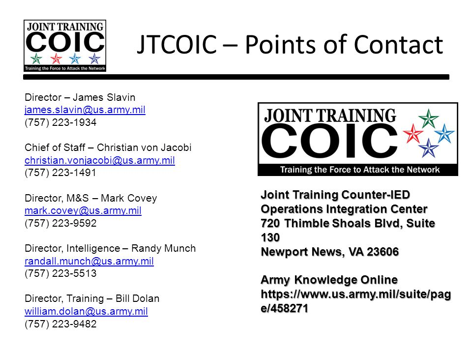 JTCOIC – Points of Contact