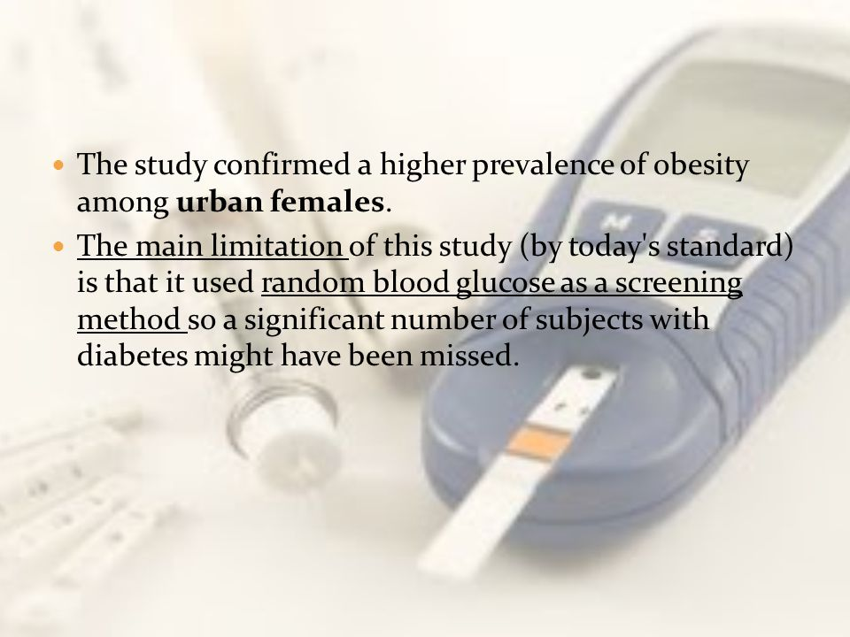 The study confirmed a higher prevalence of obesity among urban females.