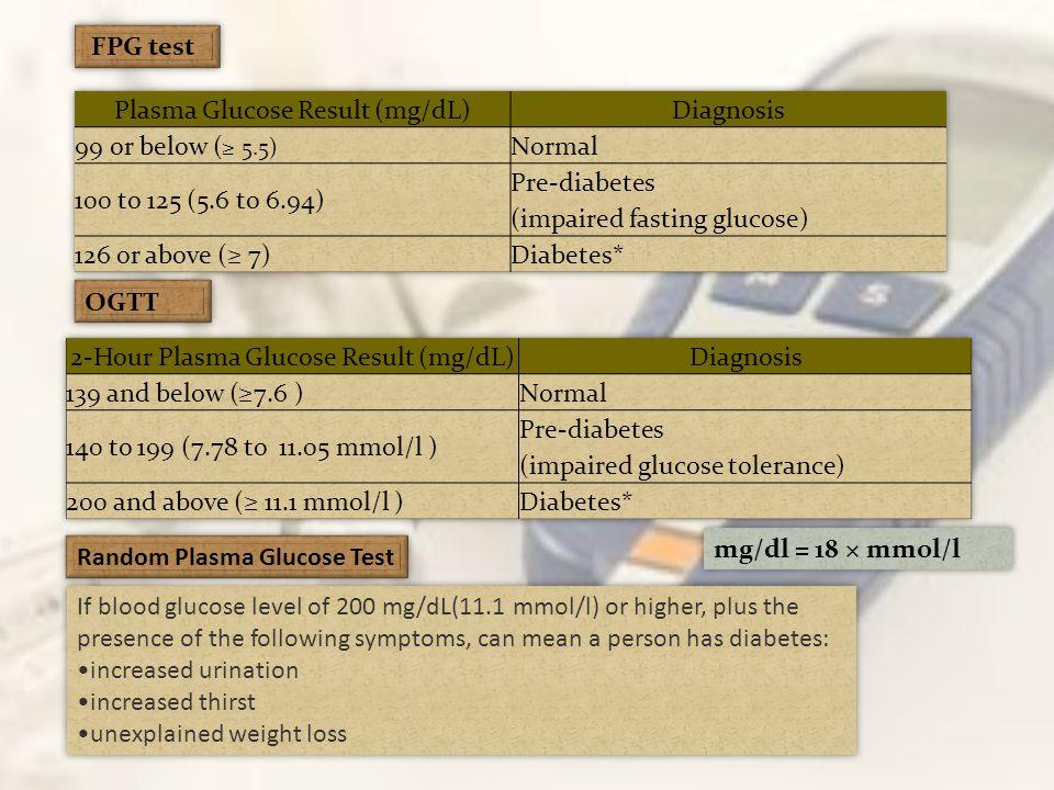 Plasma Glucose Result (mg/dL) Diagnosis 99 or below (≥ 5.5) Normal
