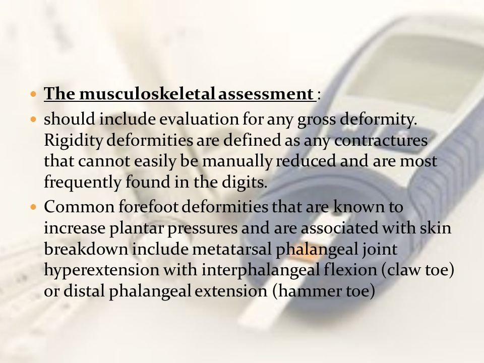 The musculoskeletal assessment :