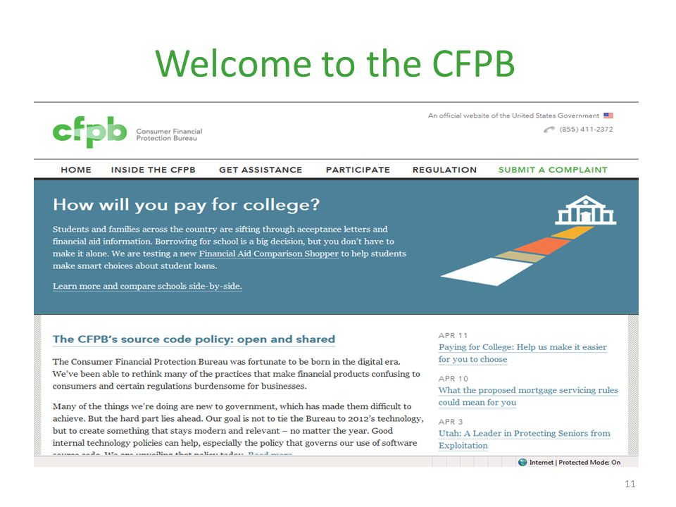 Welcome to the CFPB