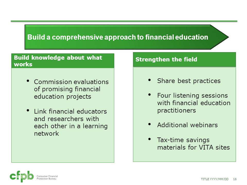 Build a comprehensive approach to financial education