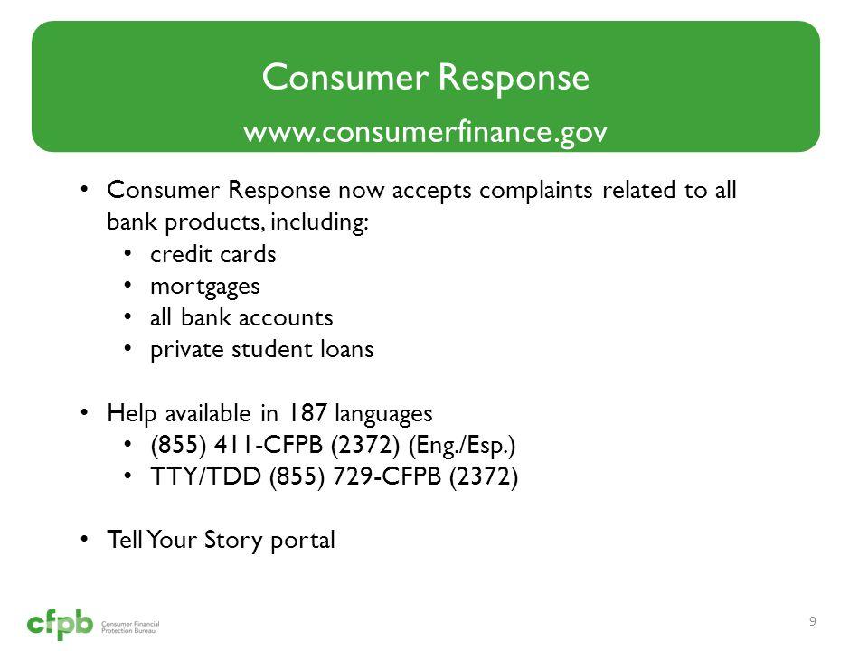 Consumer Response www.consumerfinance.gov
