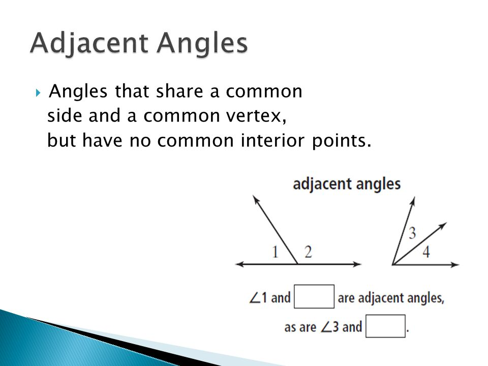 Adjacent Angles Angles that share a common side and a common vertex,