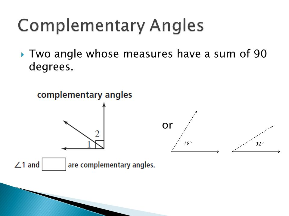 Complementary Angles Two angle whose measures have a sum of 90 degrees. or