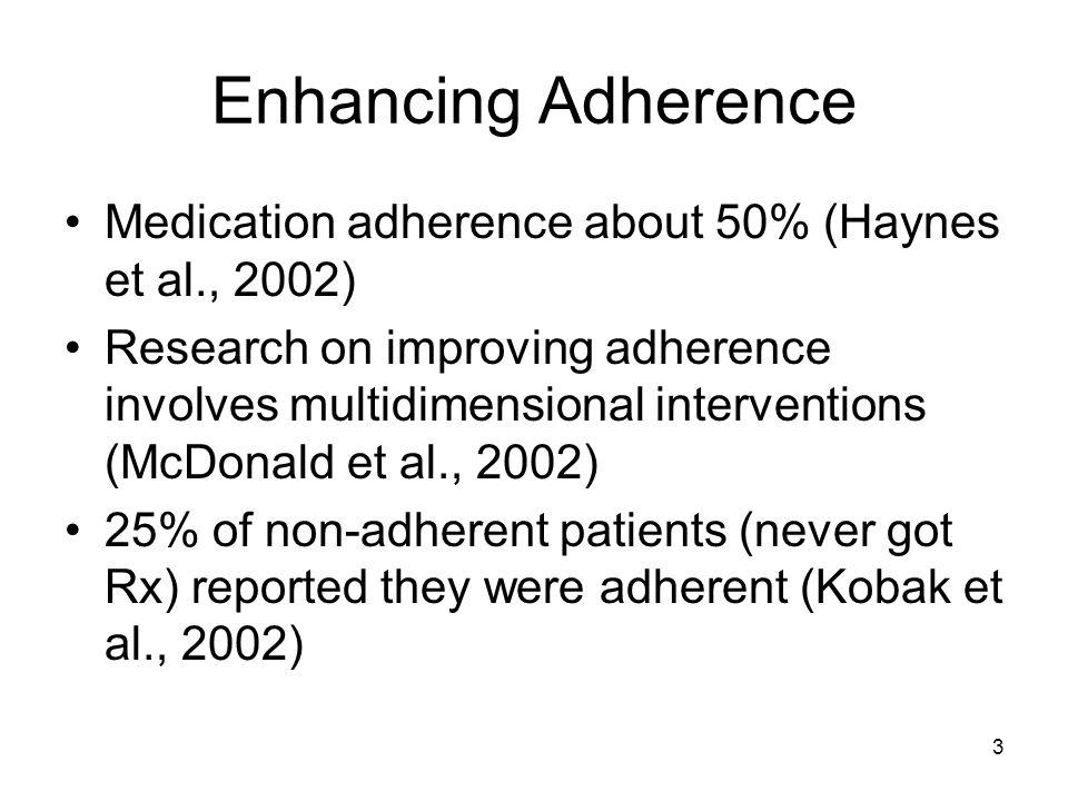 Enhancing Adherence Medication adherence about 50% (Haynes et al., 2002)