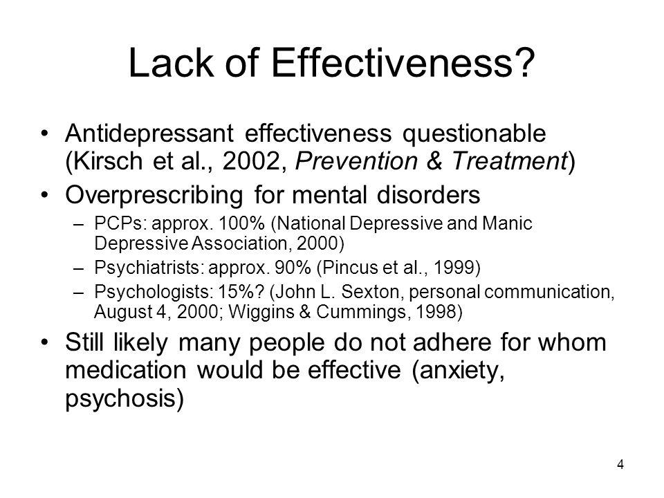 Lack of Effectiveness Antidepressant effectiveness questionable (Kirsch et al., 2002, Prevention & Treatment)