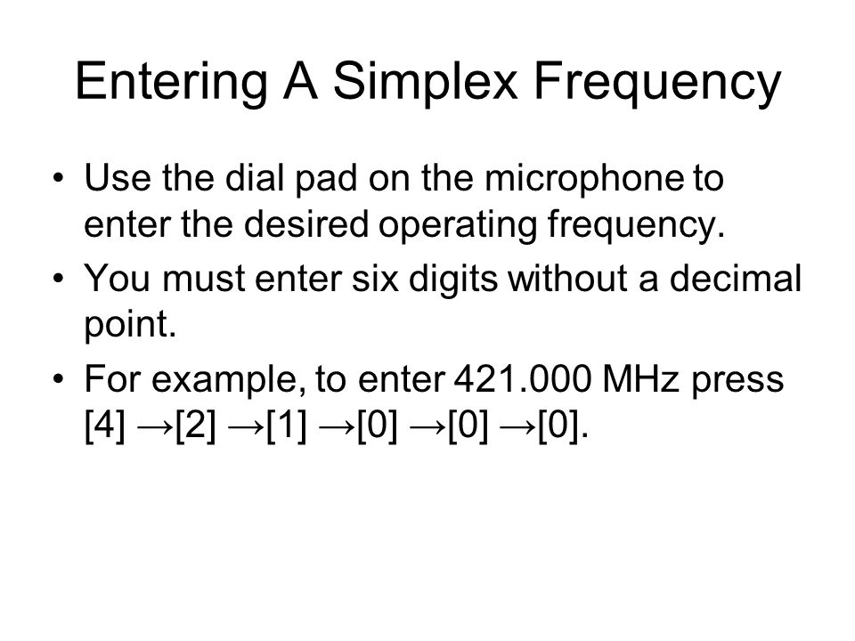 Entering A Simplex Frequency