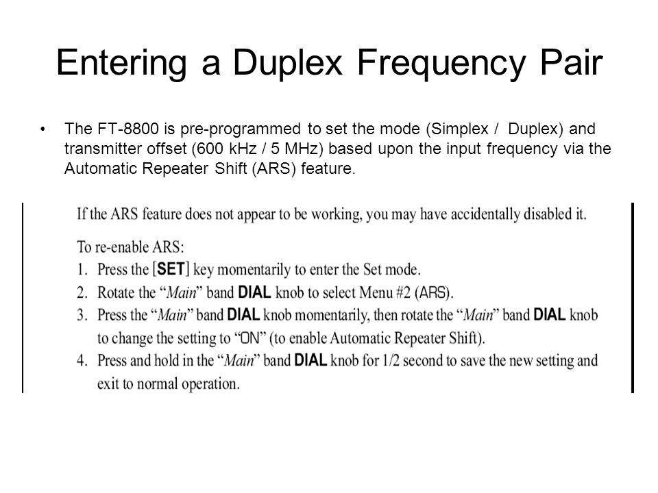 Entering a Duplex Frequency Pair