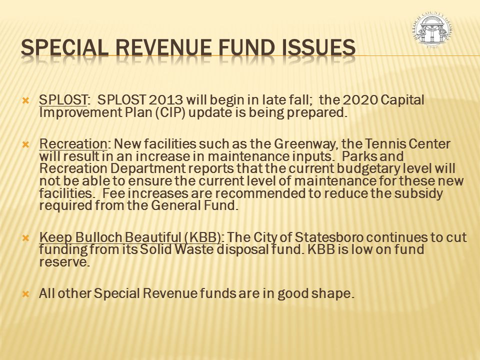 Special Revenue Fund Issues