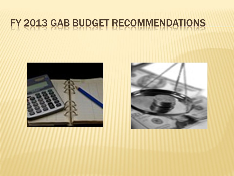 FY 2013 GAB BUDGET recommendations
