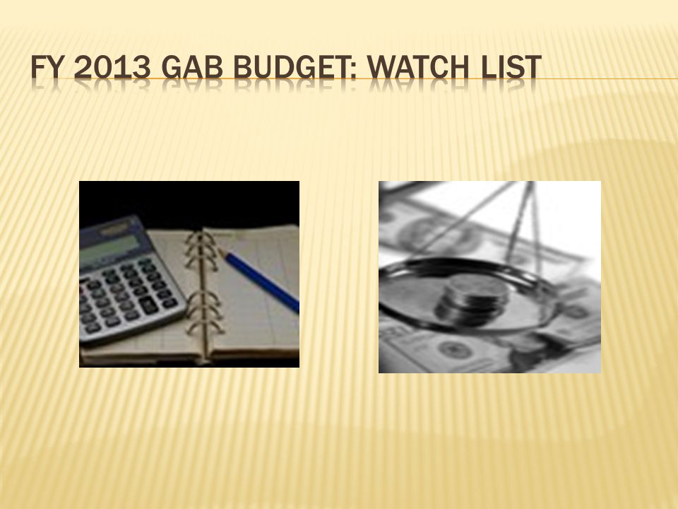 FY 2013 GAB BUDGET: WATCH LIST