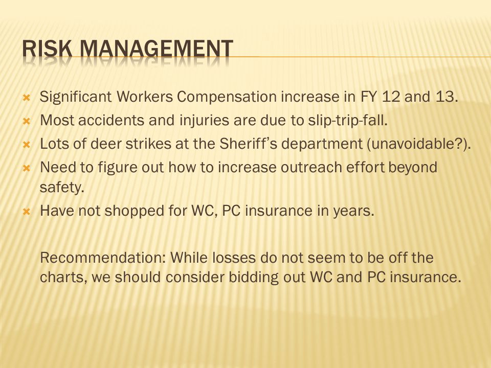 RISK MANAGEMENT Significant Workers Compensation increase in FY 12 and 13. Most accidents and injuries are due to slip-trip-fall.