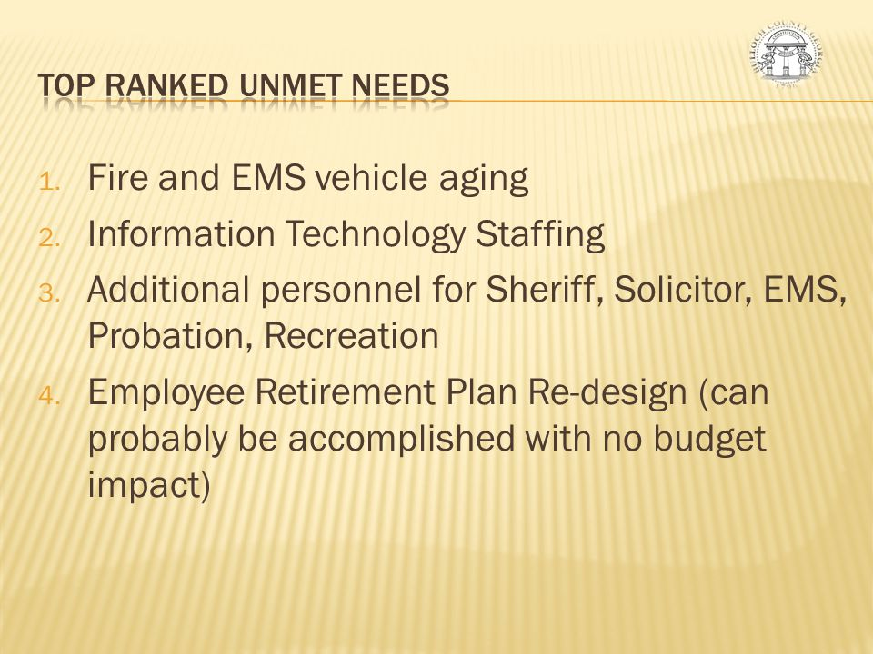 Fire and EMS vehicle aging Information Technology Staffing