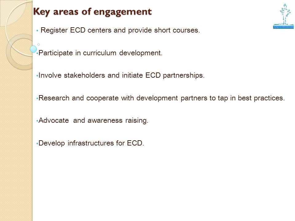Key areas of engagement