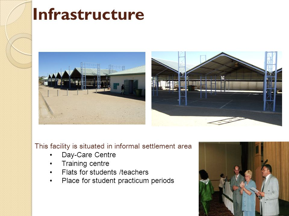 Infrastructure This facility is situated in informal settlement area