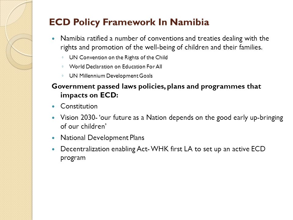 ECD Policy Framework In Namibia