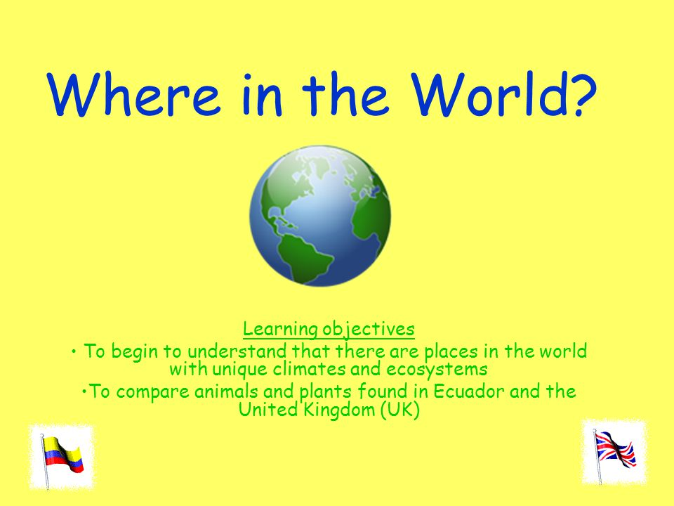 Where in the World Learning objectives