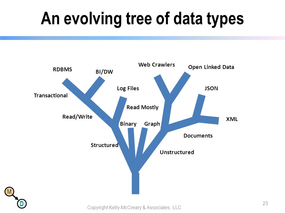 An evolving tree of data types