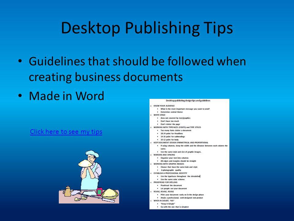 Desktop Publishing Tips