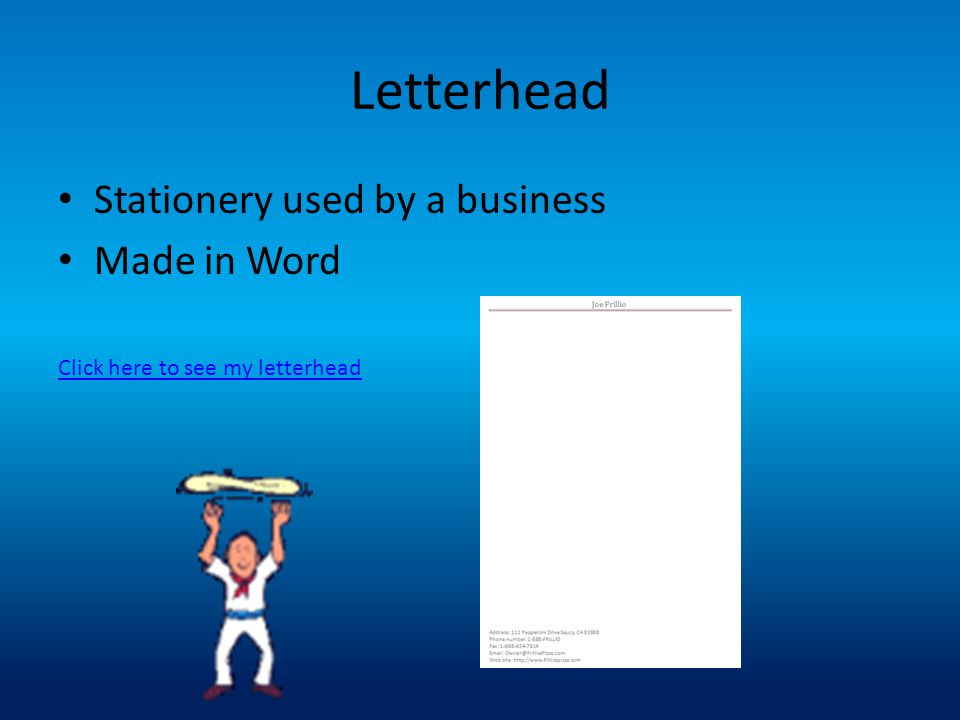Letterhead Stationery used by a business Made in Word