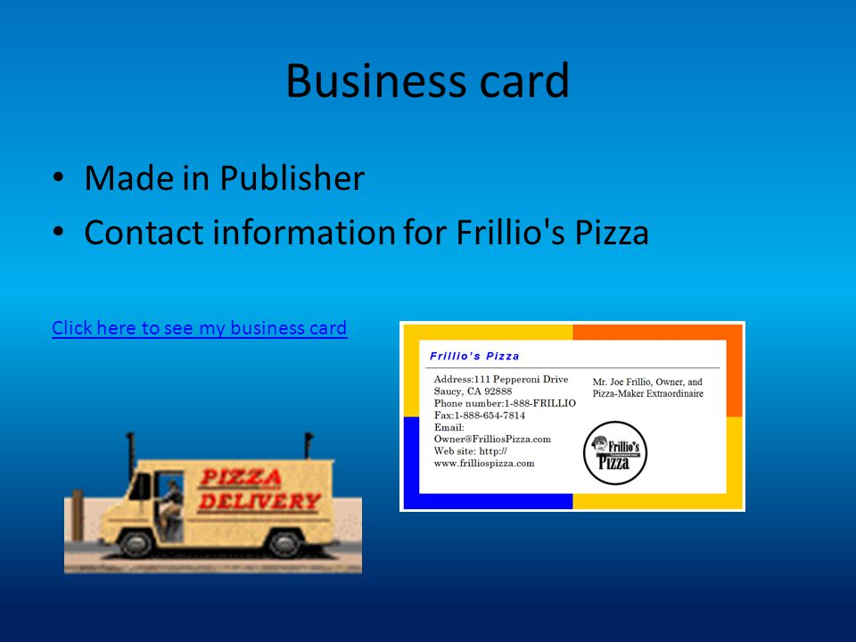 Business card Made in Publisher