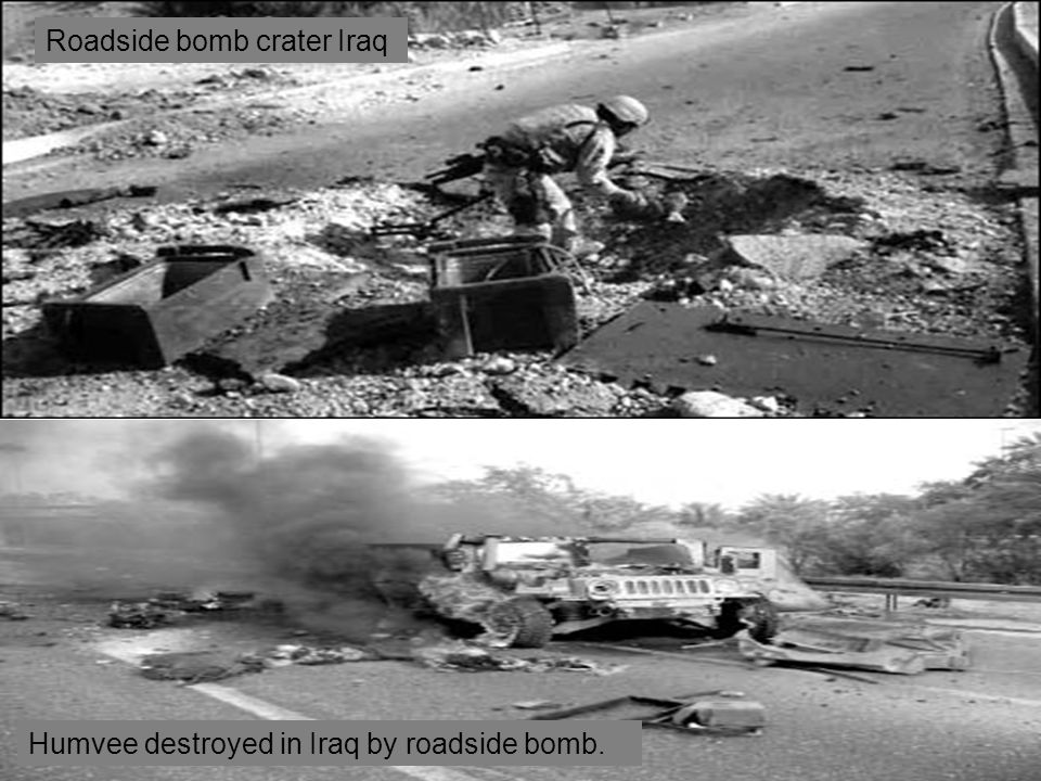 Roadside bomb crater Iraq