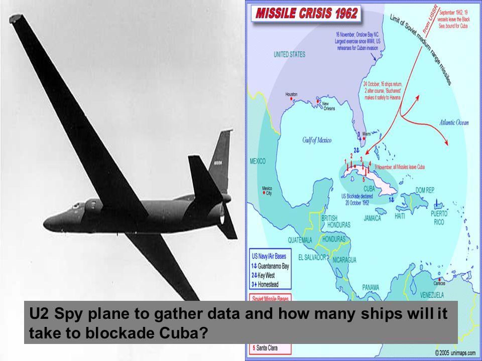 U2 Spy plane to gather data and how many ships will it take to blockade Cuba
