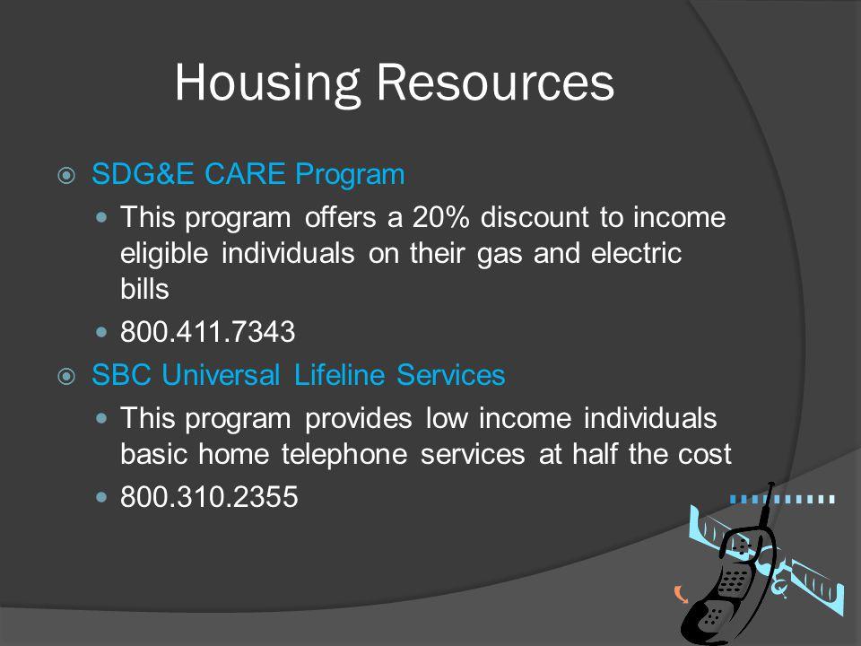 Housing Resources SDG&E CARE Program