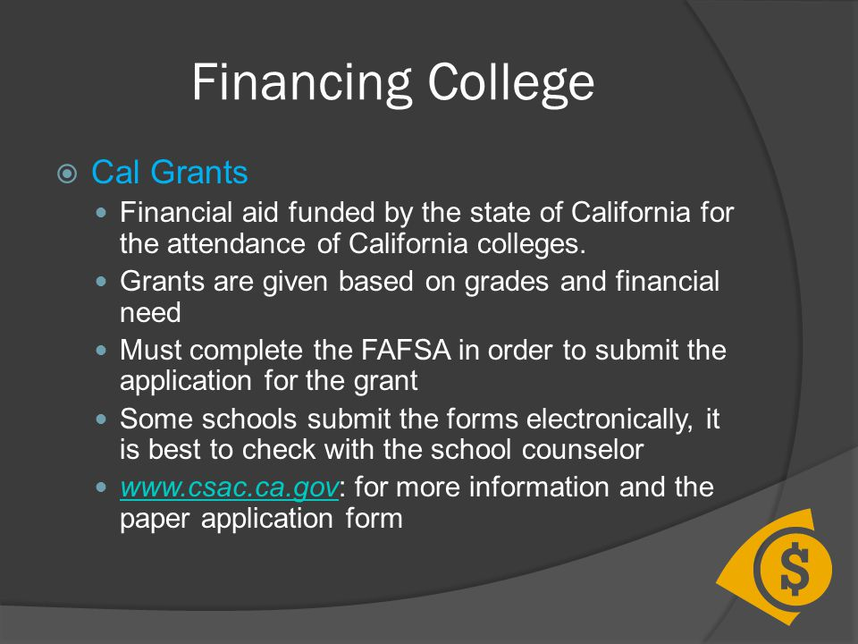 Financing College Cal Grants