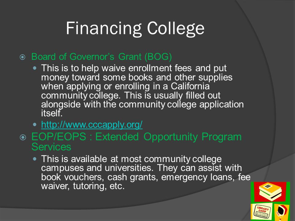 Financing College EOP/EOPS : Extended Opportunity Program Services