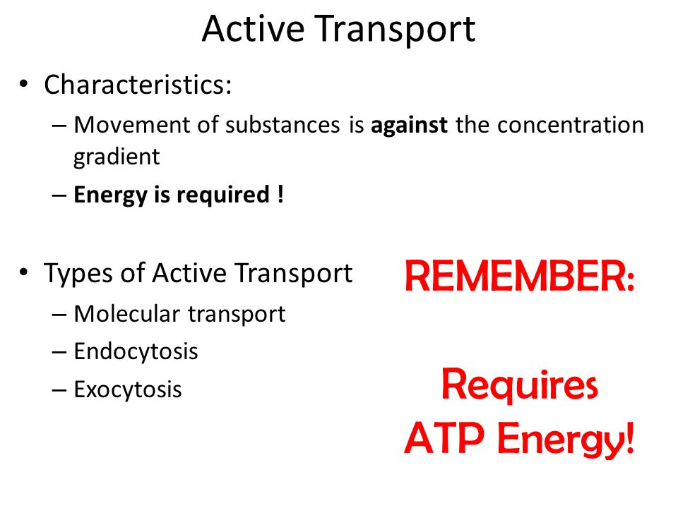 REMEMBER: Requires ATP Energy! Active Transport Characteristics: