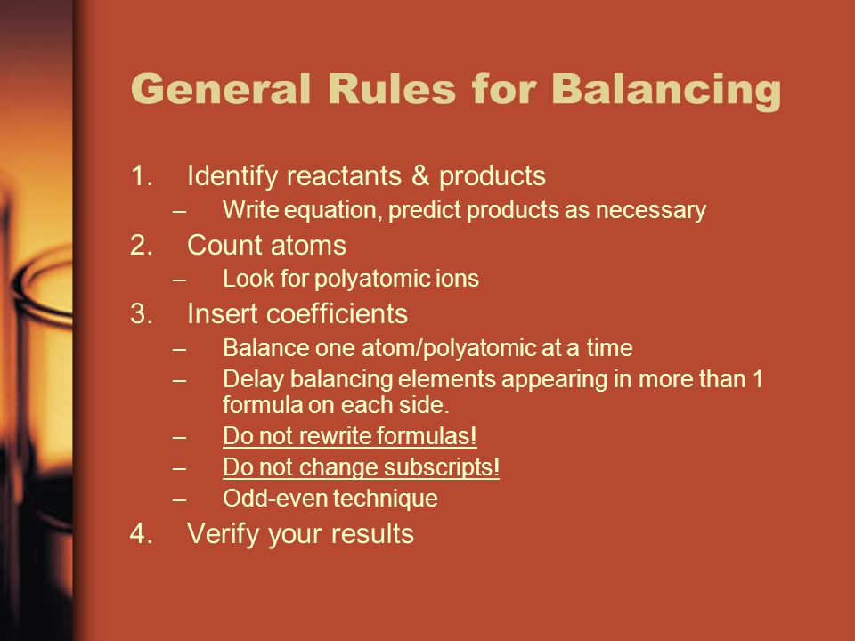 General Rules for Balancing