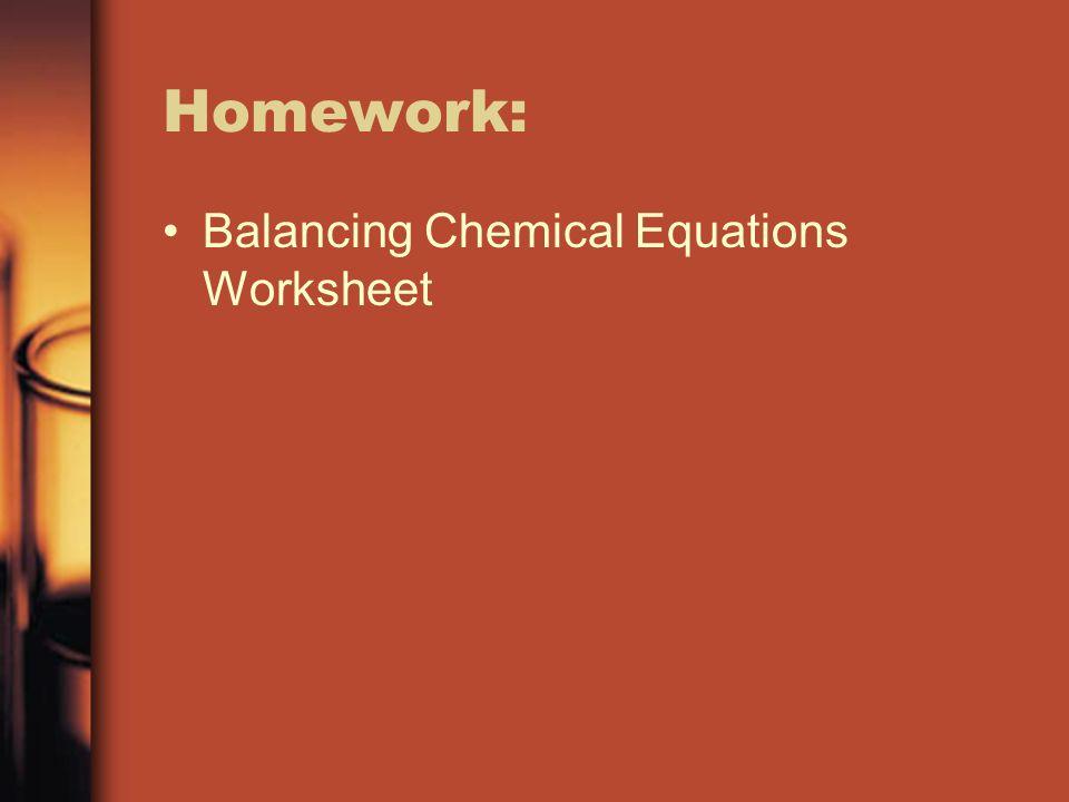 Homework: Balancing Chemical Equations Worksheet