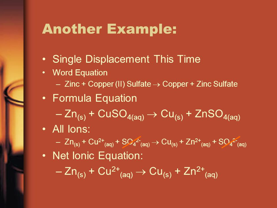 Another Example: Single Displacement This Time Formula Equation