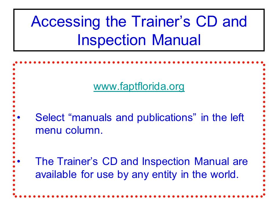 Accessing the Trainer's CD and Inspection Manual