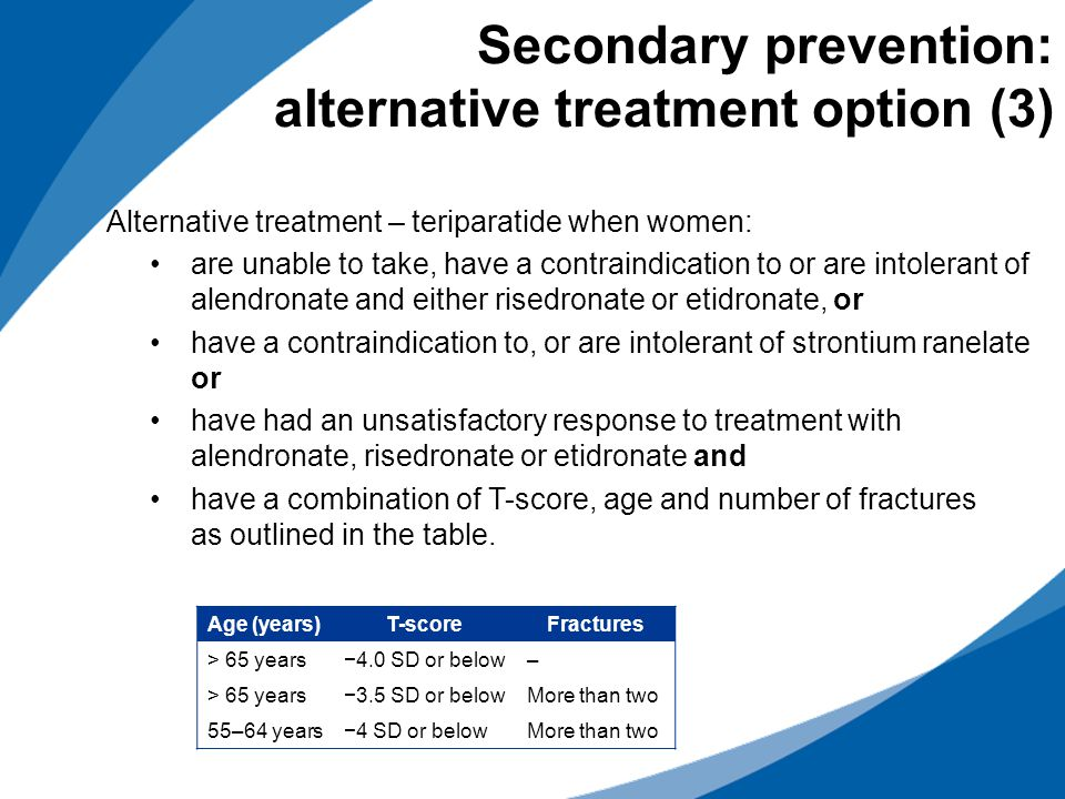 Secondary prevention: alternative treatment option (3)