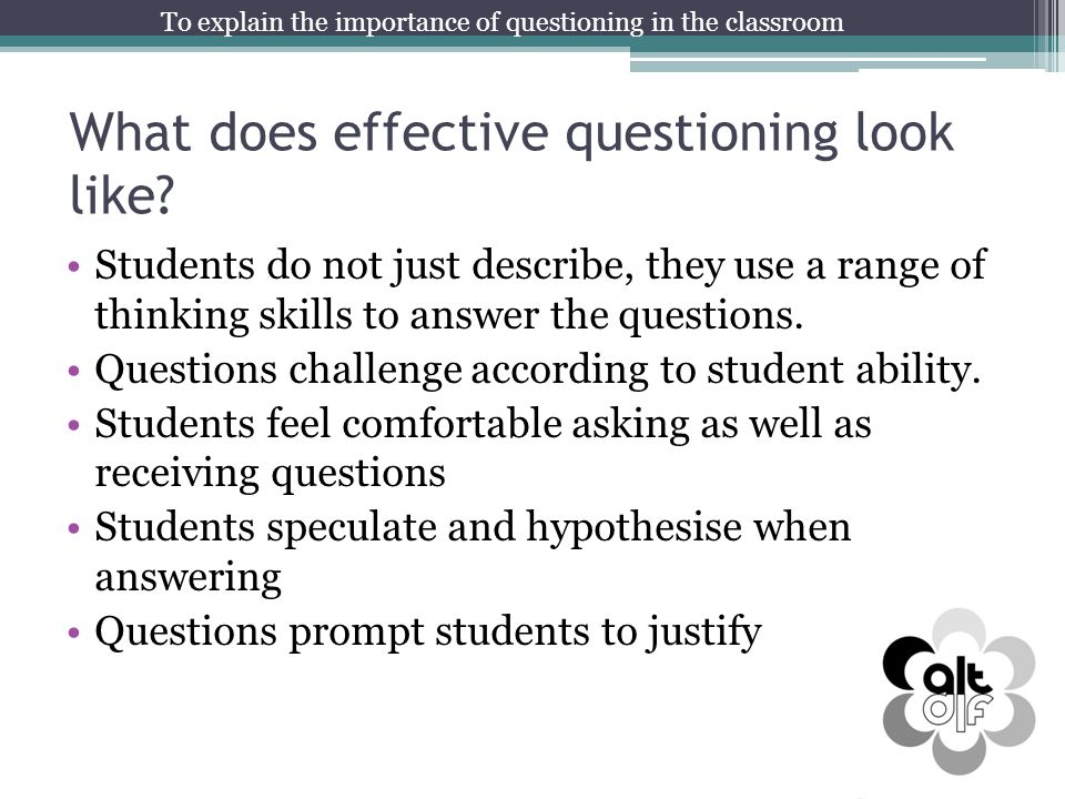 What does effective questioning look like