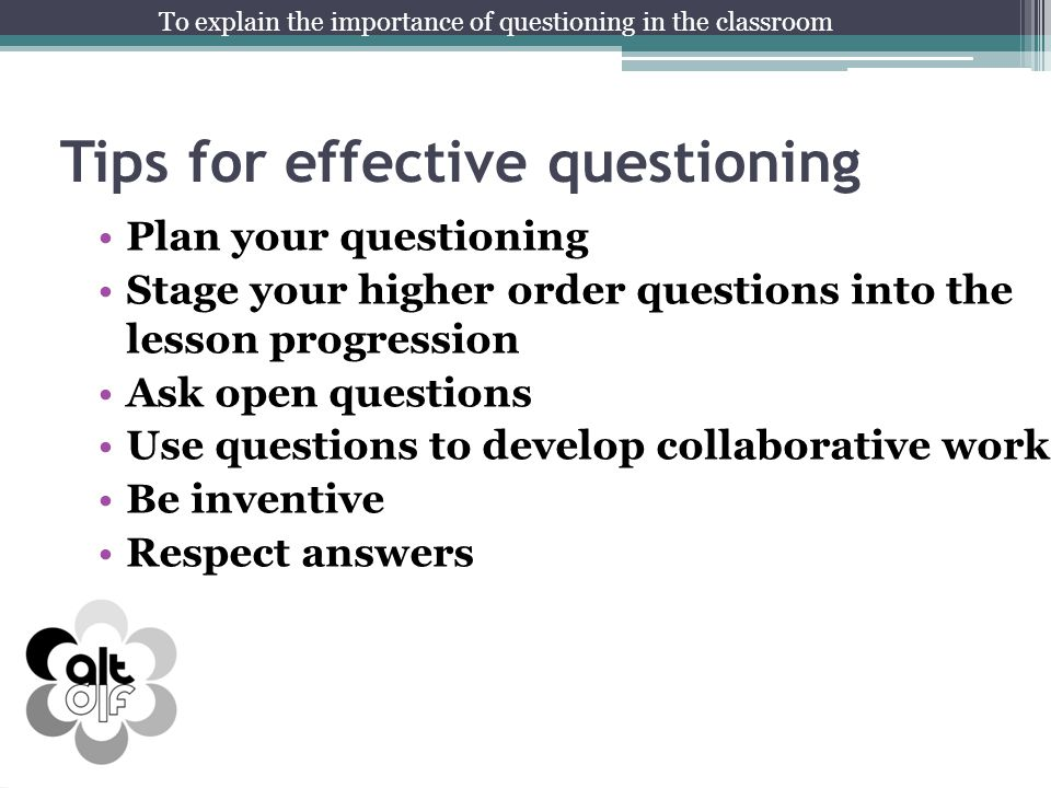 Tips for effective questioning