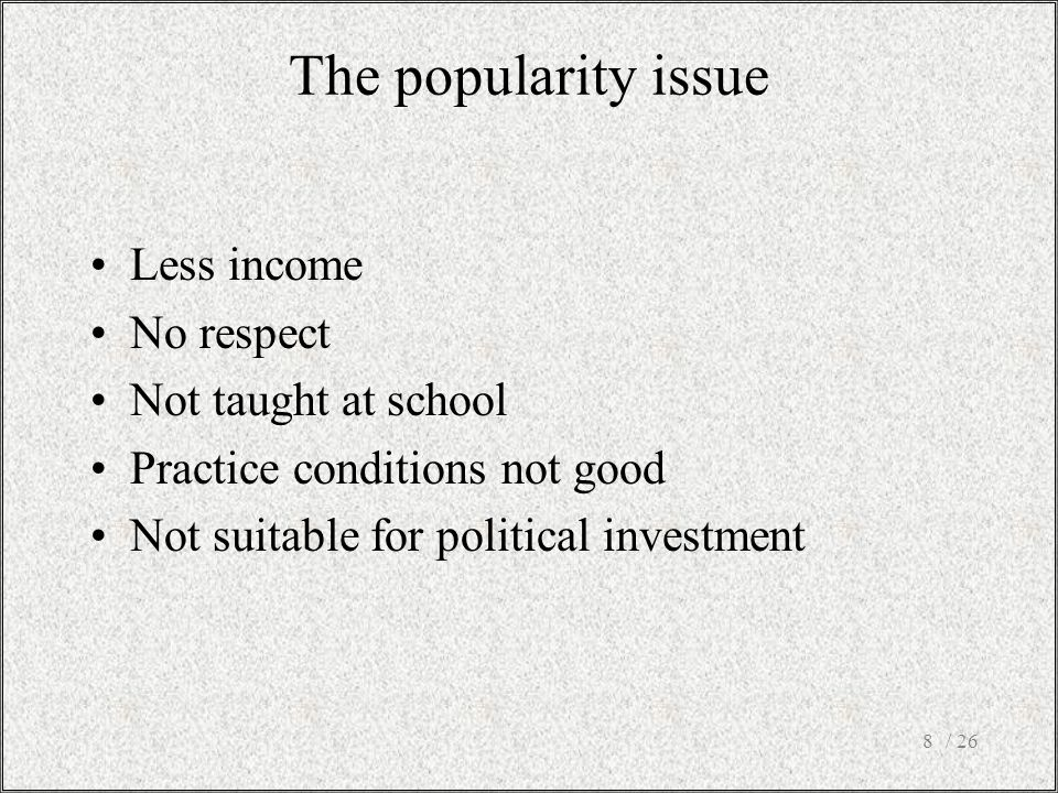 The popularity issue Less income No respect Not taught at school