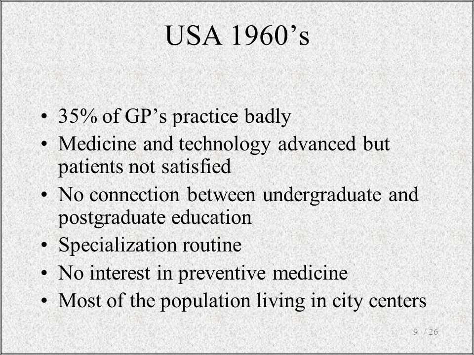 USA 1960's 35% of GP's practice badly