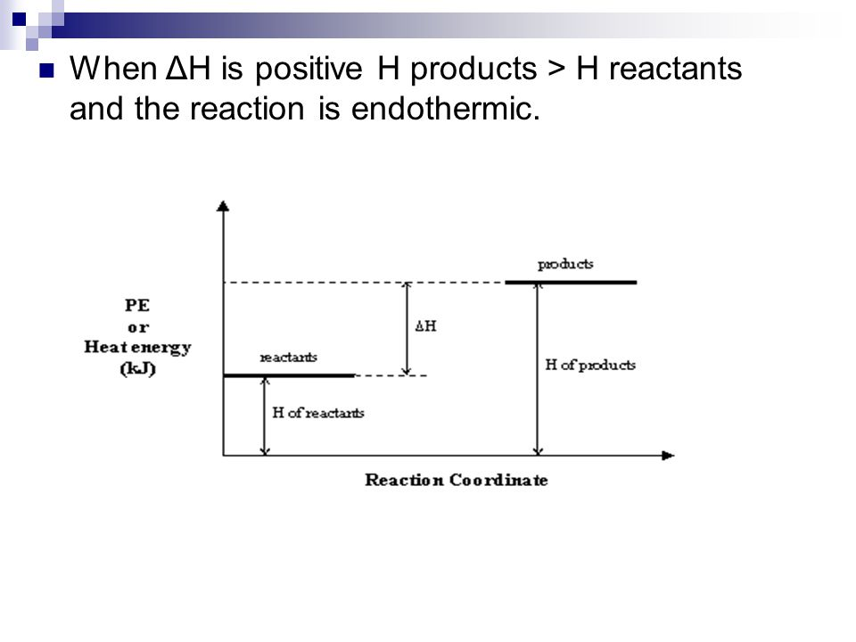 When ΔH is positive H products > H reactants and the reaction is endothermic.