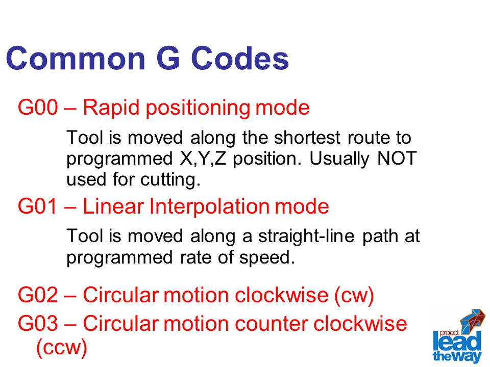 Common G Codes G00 – Rapid positioning mode