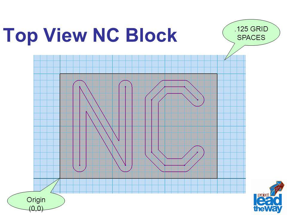 Top View NC Block .125 GRID SPACES Origin (0,0)